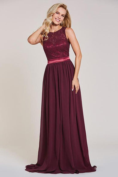 Backless Rust Red Sleeveless Lace Floor Length Evening Dress | TeresaClare
