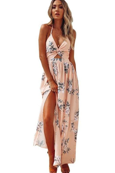 Backless Sexy Summer Bohemian Deep V Neck Fashion Dress | TeresaClare