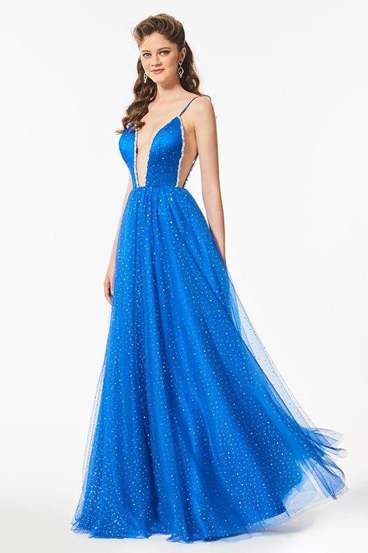 Backless Sexy V-Neck Sleeveless Floor Length A-Line Prom Dress | TeresaClare