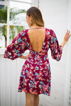 Backless V Neck Floral Print High Waist Boho Midi Dress | TeresaClare