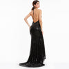Backlesses Black Halter Sleeveless Sweep Train Evening Dress | TeresaClare