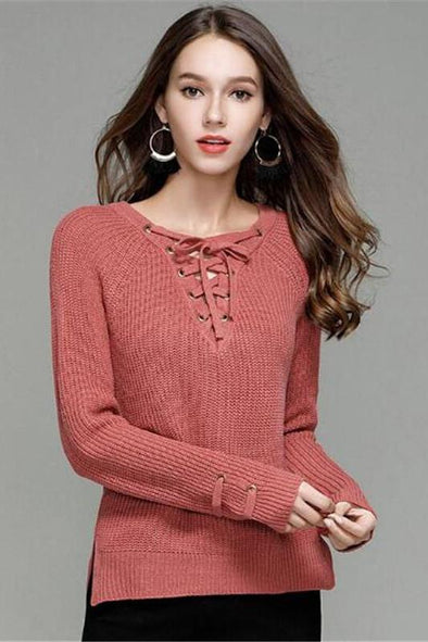 Bandage Fashion Candy Color Knitted Pullovers Sweater | TeresaClare