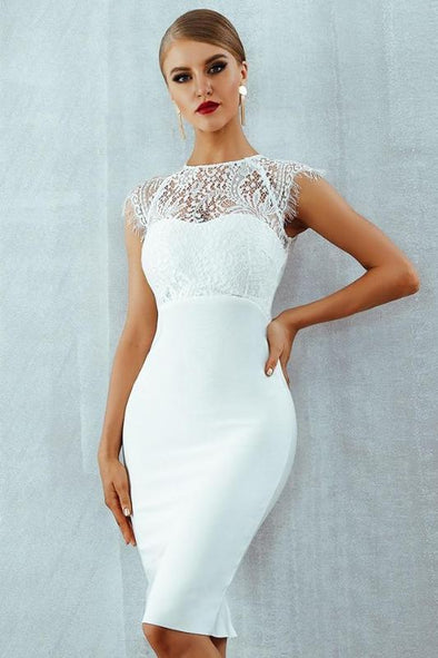 Bandage Lace Short Sleeve Hollow Out Midi Club Party Dress | TeresaClare