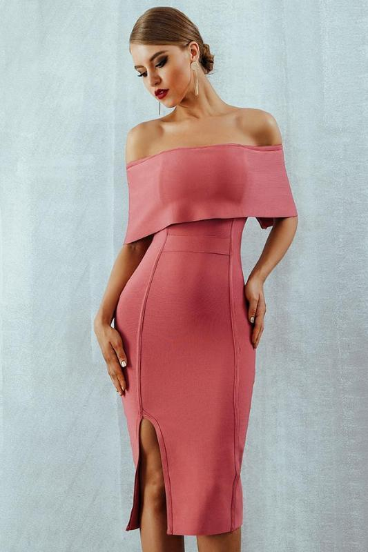 Bandage Slash Neck Bodycon Side Split Off Shoulder Midi Dress | TeresaClare