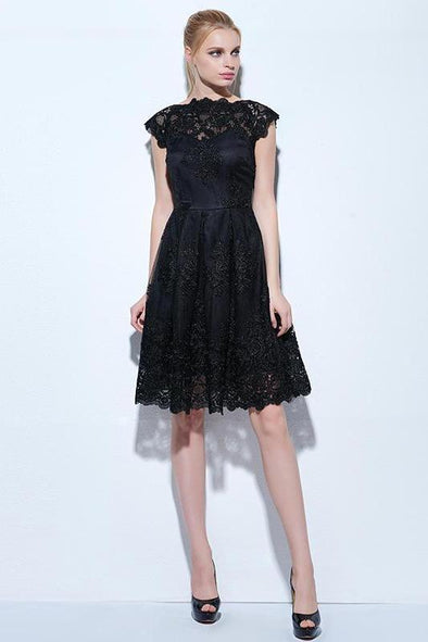 Bateau Black Lace Appliques Cap Homecoming Dress | TeresaClare