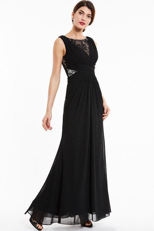 Bateau Black Lace Sleeveless Floor Length Evening Dress | TeresaClare