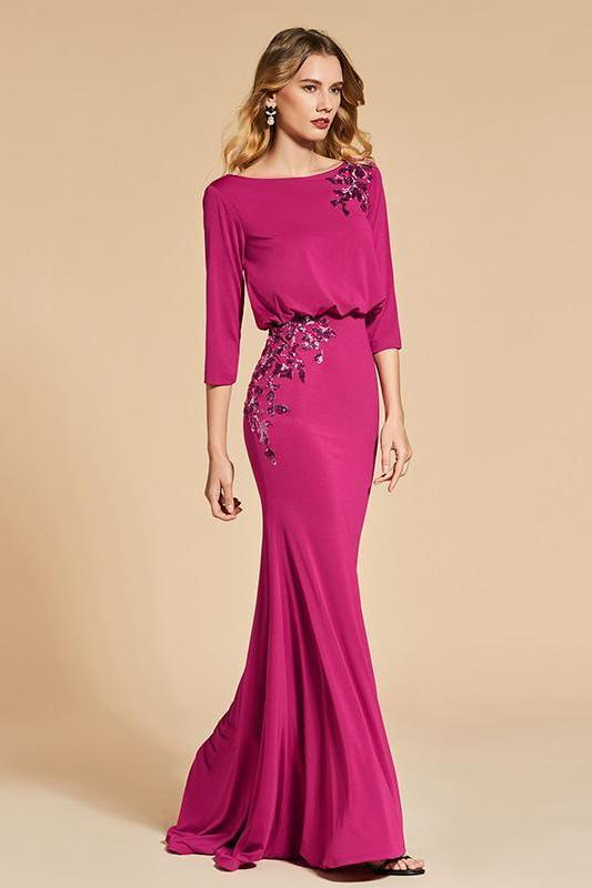 Bateau Neck Rose Red 3/4 Sleeves Floor Length Evening Dress | TeresaClare