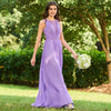 Beaded Dark Lilac Sleeveless Floor-Length Evening Dress | TeresaClare
