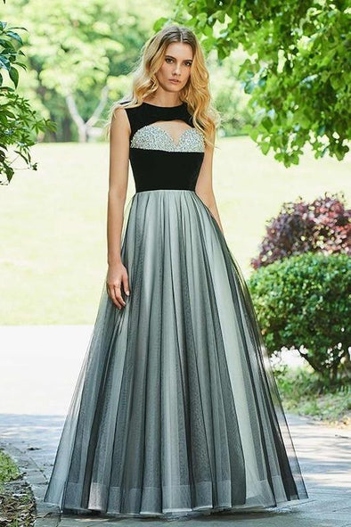 Beaded Evening Dress With Scoop Neck Sleeveless Floor Length | TeresaClare