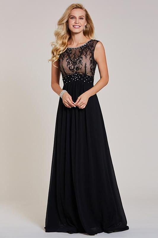 Beaded Long Black Scoop Cap Sleeves Evening Dress | TeresaClare