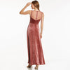 Beaded Long Elegant Burgundy Sleeveless A-Line Evening Dress | TeresaClare