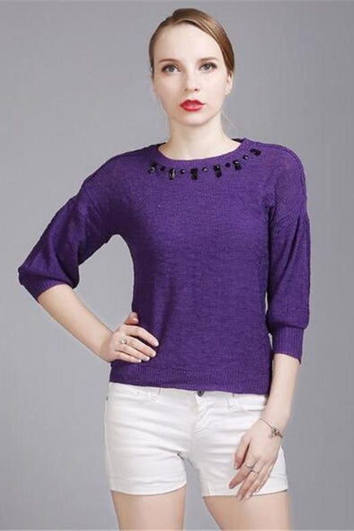 Beading Knitted Pullovers For Women Sexy O-neck Sweater | TeresaClare