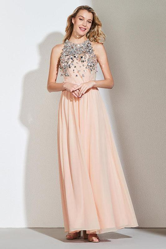 Beading Sexy Halter Sleeveless Floor Length Evening Dress | TeresaClare