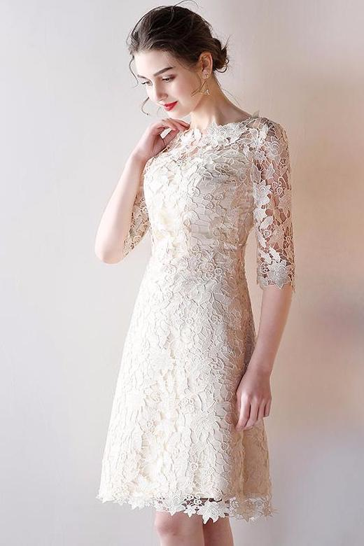 Beautiful Scoop-Neck Knee-Length Cocktail Dress With Lace – TeresaClare