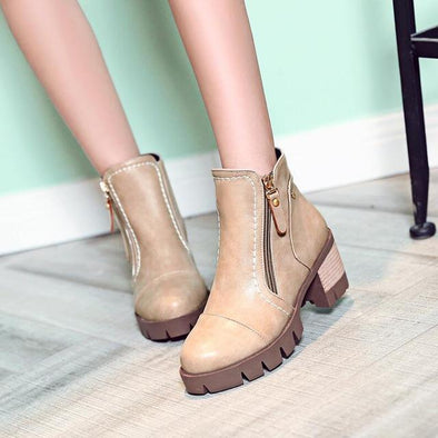 Beige Ankle Boots For Women Mid Heels Autumn PU Leather | TeresaClare