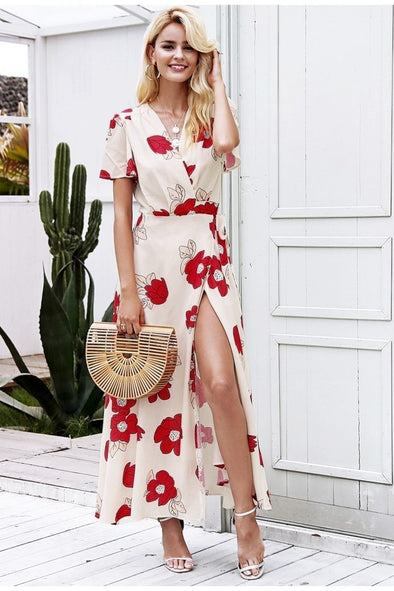 Beige Boho Floral Print Beach Long Wrap Maxi Dress | TeresaClare
