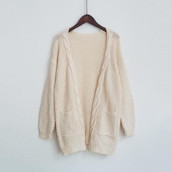Beige Long Solid Cardigan Knitted Women's Sweater With Pockets | TeresaClare