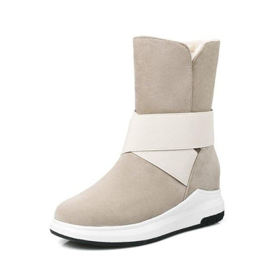 Beige Mid-Calf Cotton Fashion Casual Flat Warm Boots | TeresaClare