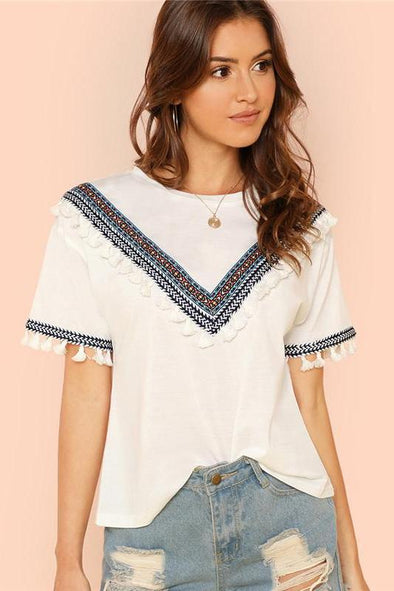 Beige Weekend Casual Embroidered Tape And Tassel Blouse | TeresaClare
