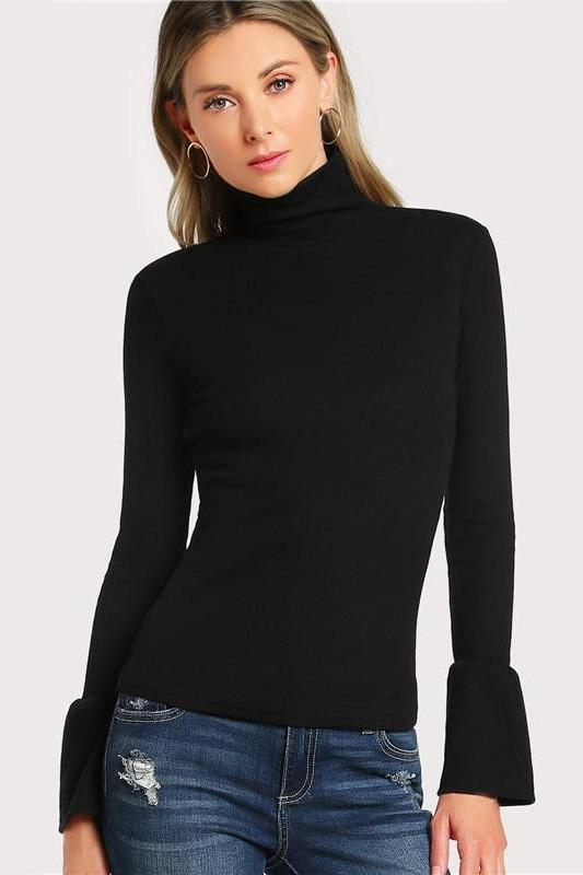 Bell Cuff Rib Knit Fitted Autumn Women's Long Sleeve T-Shirt | TeresaClare