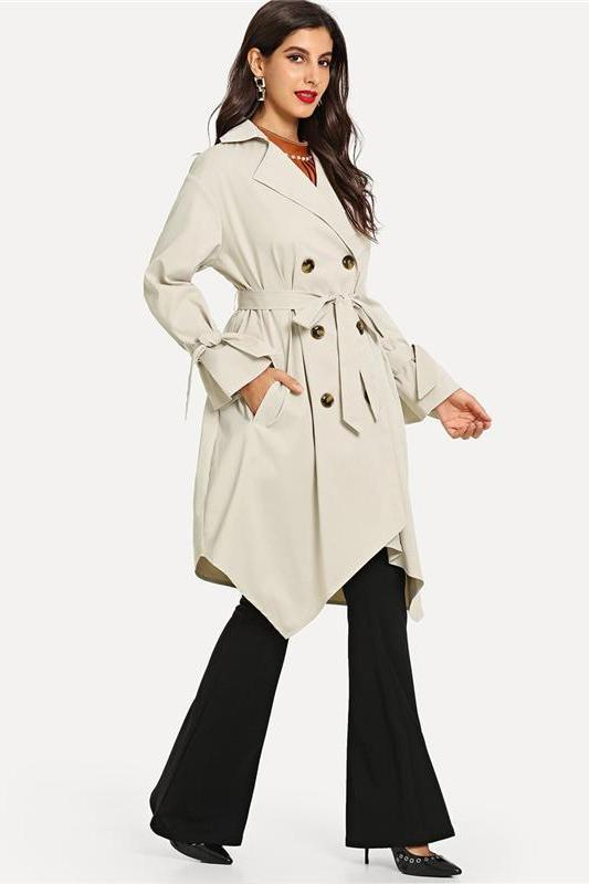 Belted Cuff Hanky Hem Trench Workwear Double Breasted Coat | TeresaClare