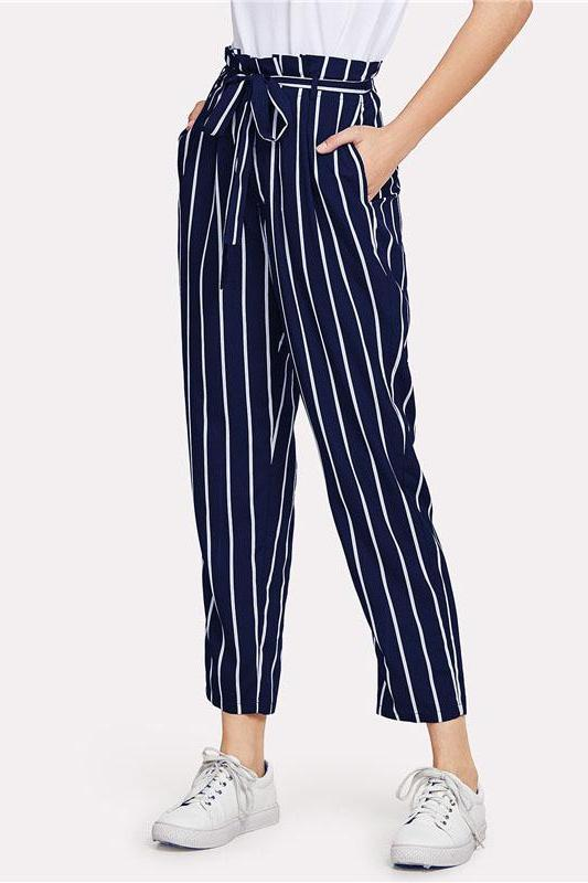 Belted Waist Navy Striped Tapered High Waist Pants | TeresaClare