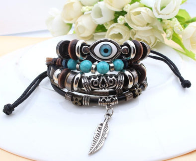 Bible Leather Feather Eye Vintage Bracelets | TeresaClare
