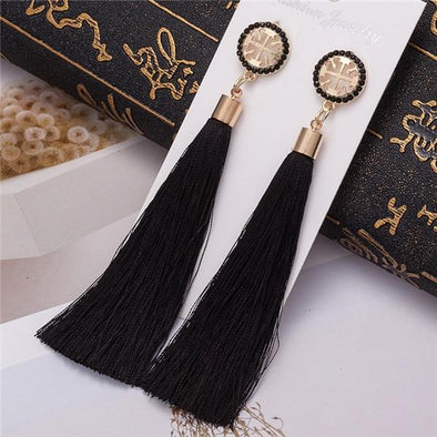 Black 2 Crystal Tassel Earrings Long Boho Bohemian Rose Flower Drop | TeresaClare