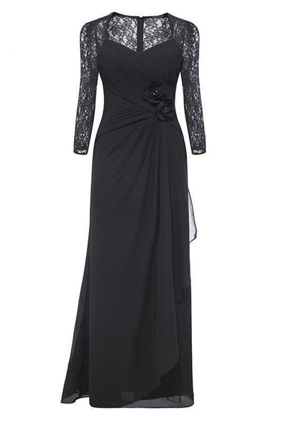 Black 3/4 Sleeves V-Neck Black Flowers Lace Floor Length Evening Dress | TeresaClare