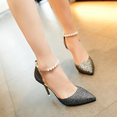 Black 8CM Summer High Heels Fashion Sexy Women's Pumps | TeresaClare