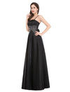 Black A-Line Floor-Length Strapless Satin Evening Dresses | TeresaClare