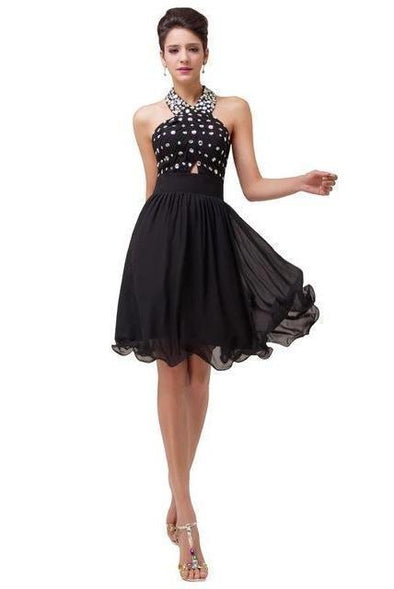 Black A-Line Halter Neckline Sequins Short Prom Dress | TeresaClare
