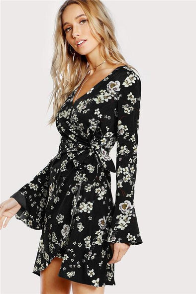 Black and White Bell Sleeve Surplice Wrap Floral Fashion Dress | TeresaClare