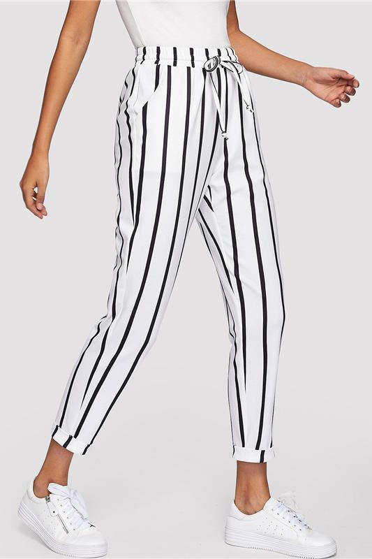 Black and White Casual Drawstring Waist Striped Pants | TeresaClare