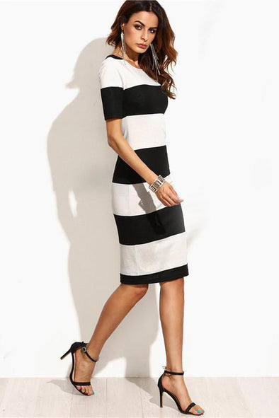 Black and White Contrast Wide Stripe Pencil Fashion Dress | TeresaClare