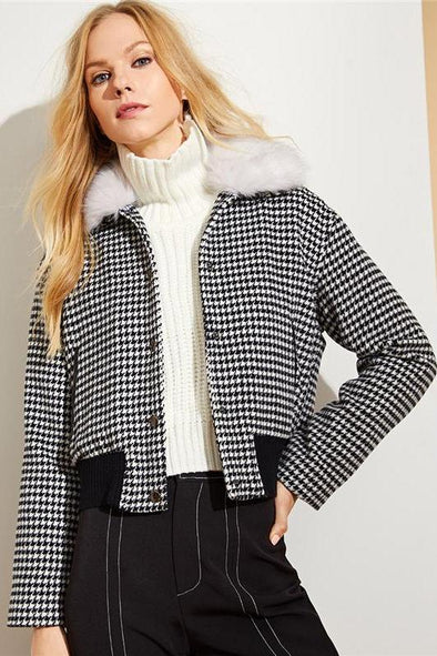 Black and White Faux Fur Collar Houndstooth Jacket | TeresaClare
