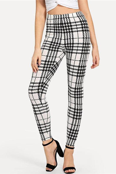 Black And White Highstreet Plaid Skinny High Waist Pants | TeresaClare
