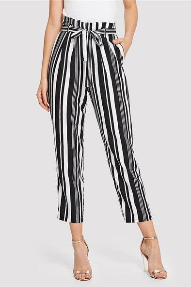 Black and White Minimalist Workwear Self Belted Pants | TeresaClare