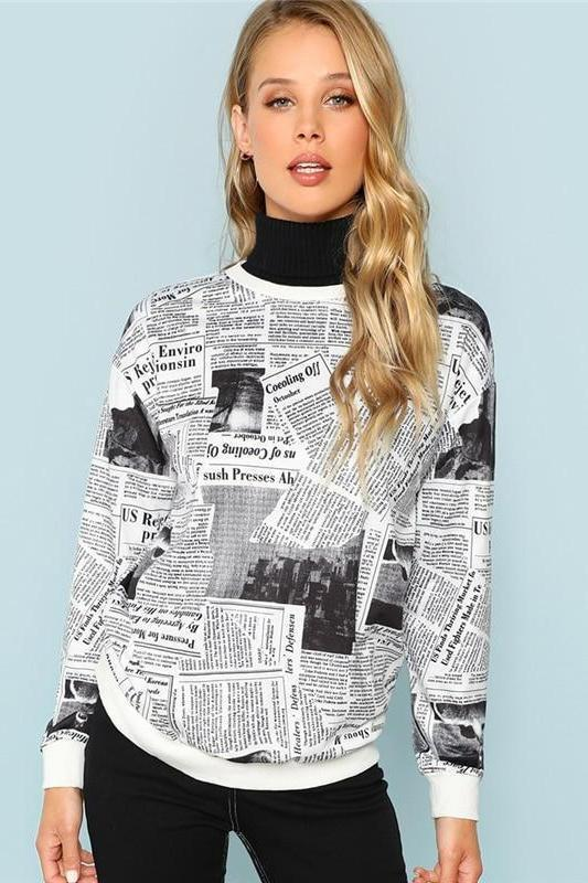 Black and White Newspaper Print Long Sleeve Sweater | TeresaClare