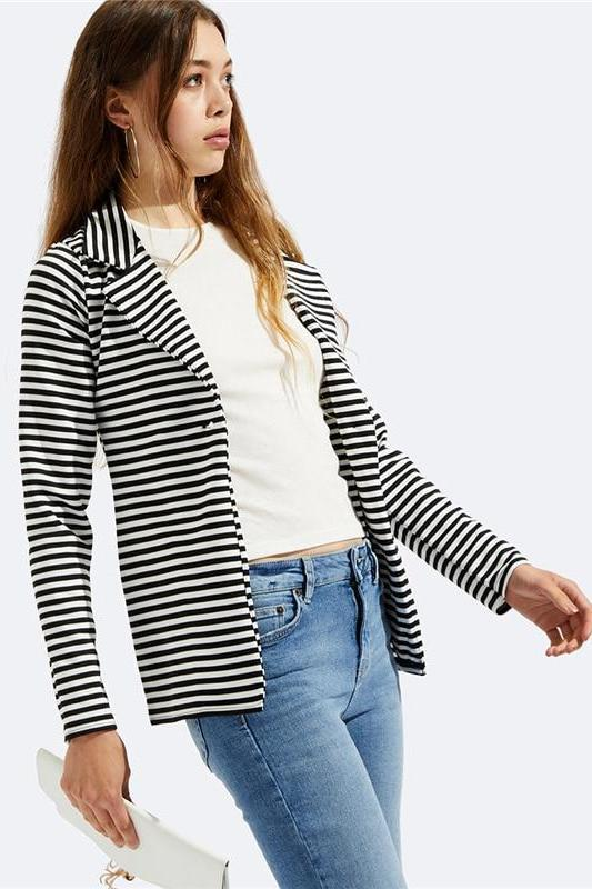 Black and White Notch Collar Striped Single Button Blazer | TeresaClare