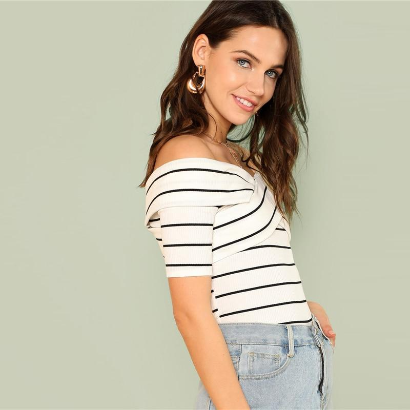 d98eaed52ed446 Black and White Off the Shoulder Crisscross Front Striped T-Shirt. Size  Chart. Follow the size chart to determine your size.