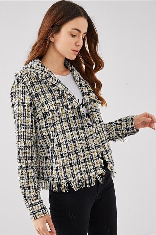 Black and White Plaid Frayed Trim Tweed Blazer | TeresaClare