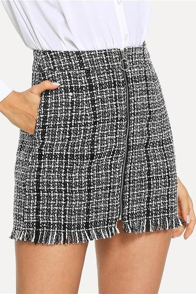 Black and White Plaid Zip Front Frayed Tweed Skirt | TeresaClare