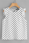 Black and White Polka Dot Sleeveless Casual Blouse | TeresaClare