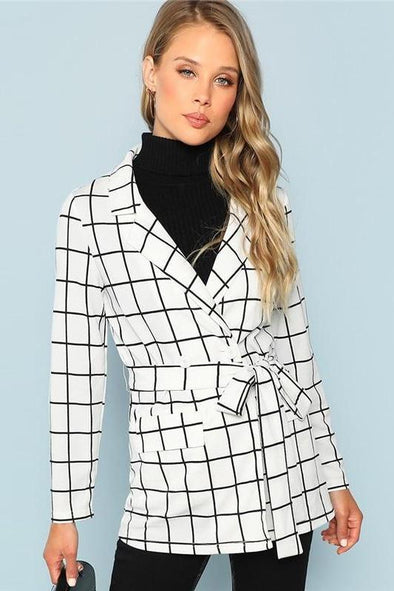 Black and White Self Belted Grid Print Notched Blazer | TeresaClare