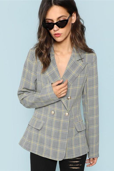 Black and White Single Breasted Plaid Print Outerwear Coat | TeresaClare