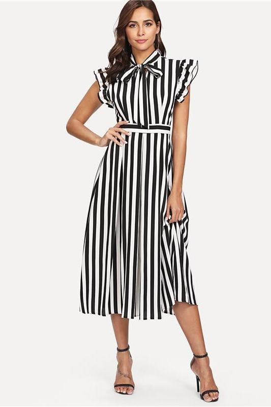 Black And White Striped Ruffle Shoulder Vertical Fashion Dress | TeresaClare