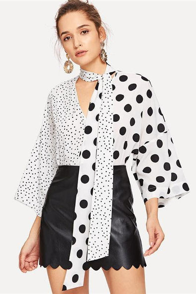 Black and White Two Tone Polka Dot Print Tie Blouse | TeresaClare