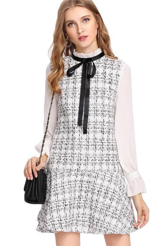 Black and White Women Frilled Neck Drop Waist Fashion Dress | TeresaClare