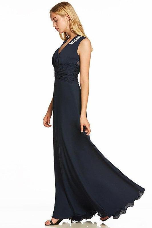 Black Appliques Empire Sexy Black Sleeveless Evening Dress | TeresaClare